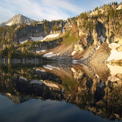 Eagle Cap reflects in Mirror Pond in the Eagle Cap Wilderness in northeast Oregon.
