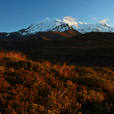 Mount Ruapehu at sunset in Tongariro National Park on the North Island of New Zealand.