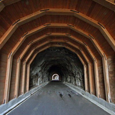 A view down one of the Twin Tunnels between Mosier and Hood River on the Oregon side of the Columbia River Gorge.